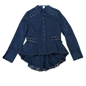 THE PYRAMID COLLECTION Women's Navy Blue & Black Military Ruffle Lace Jacket.
